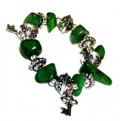 Moroccan craft bracelet with dark green colored stones