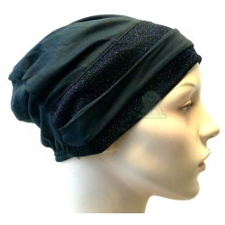 Black hat with two black glitter bands