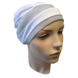 White hat with two gray glitter bands