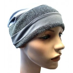 Gray beanie with two glitter stripes in dark gray