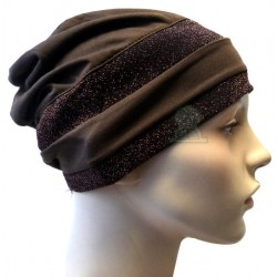 Brown hat with two dark brown shiny glitter bands