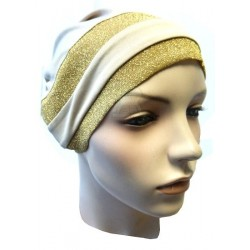 Beige beanie with two golden glitter bands
