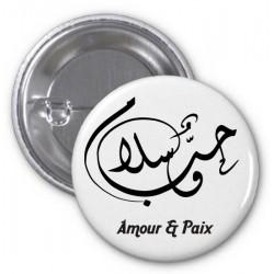 "Badge avec calligraphie artistique ""Amour & Paix"""
