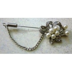 Silver Flower Hijab Brooch with Scattered Beads