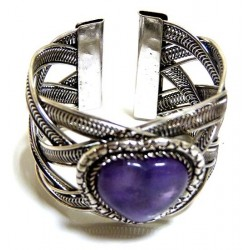 Adjustable cuff bracelet in chiseled silver metal adorned with purple stone in the...