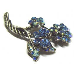 """Silver """"bouquet of blue flowers"""" brooch for Hijab"""