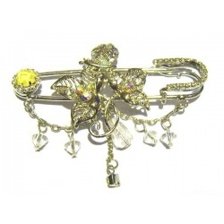"""Golden """"flower"""" pin brooch with yellow diamonds"""