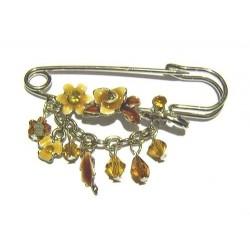 """Pin brooch """"brown flowers"""""""