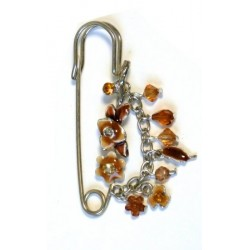 "Silver pin brooch ""brown flowers"""