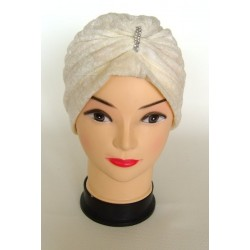 Off-white velvet style beanie with pearls (Egyptian headband)