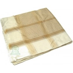 Ghutra (large square Saudi scarf) with beige patterns