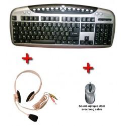 USB Multimedia & Internet AZERTY keyboard (bilingual French - Arabic) + PS / 2 adapter...