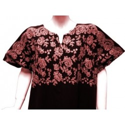 """Short-sleeved interior dress """"Chadia"""" dark brown color with embroidery"""