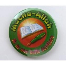 Macha-Allah badge: You have beautiful writing (Green orange)
