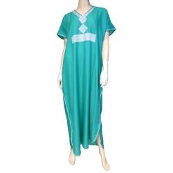 Moroccan Gandoura Blue green with silver rhinestones