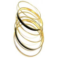 Set of six assorted golden bracelets