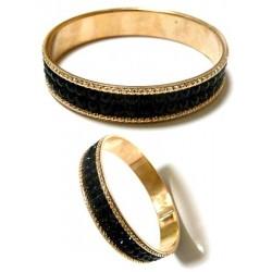 Women's bracelet with shiny black rhinestones