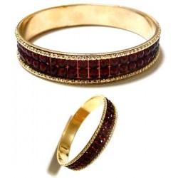 Women's bracelet with shiny burgundy rhinestones