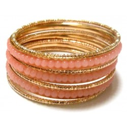 Lot of 7 metal bracelets (3 salmon colors and 4 gold)