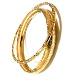 Set of 2 chiseled golden barcelets (1 large + 1 thin)
