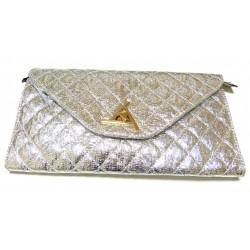 Evening Pouch: Shiny silver colored handbag