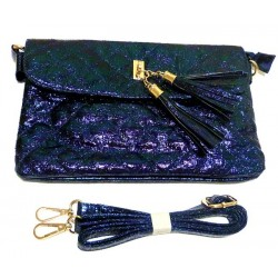 Evening Pouch: Shiny handbag in navy blue color