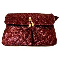Evening Pouch: Shiny burgundy-colored handbag