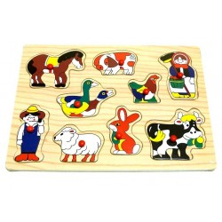 My first wooden puzzle: On the farm (The farmer, his wife and the pets)