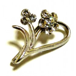 Silver half heart pin brooch with diamonds for hijab