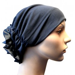 Hat in satin fabric with large flower (Charcoal gray)