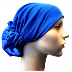 Hat in satin fabric with large flower (Radio blue)