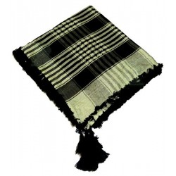Square ghutra (Scarf - Keffiyeh) with pompoms - Black and beige patterns