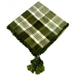 Square ghutra (Scarf - Keffiyeh) with pompoms - Khaki and white color patterns