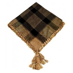 Square ghutra (Palestinian scarf - Keffiyeh) with pompom - Taupe and black color patterns