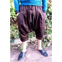 Serwal comfort trousers in cotton gabardine for men - Size S - Chocolate Brown color