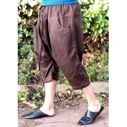 Serwal comfort trousers in cotton gabardine for men - Size M - Chocolate brown color