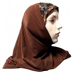 2-piece hijab with lace and floral patterns (Chocolate brown)