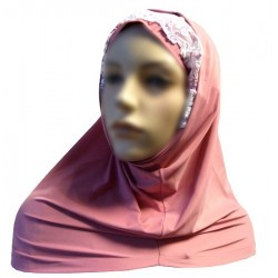 2-piece hijab with lace with floral patterns - Pink color