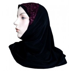 2-piece hijab with lace and flower patterns (Black and garnet)