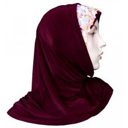 2-piece hijab with flower pattern lace (Garnet)