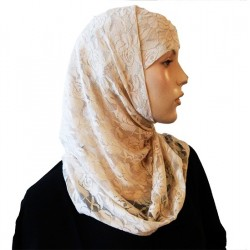 2-piece hijab with flower pattern lace