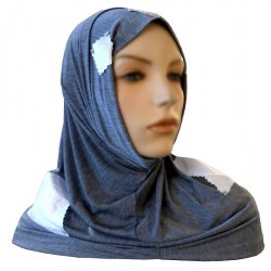 2-piece gray hijab (tube cups) decorated with satin white tiles