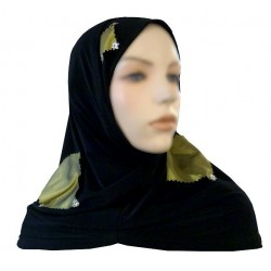 Black 2-piece hijab (tube cups) decorated with olive green checks