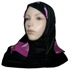 Black 2-piece hijab (tube cups) decorated with mauve checks