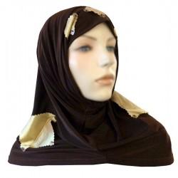 2-piece hijab (tube cups) chocolate brown and satin yellow checks