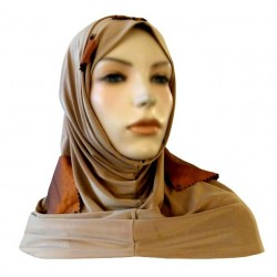 2-piece beige hijab decorated with bronze pieces