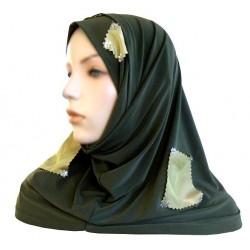 2-piece hijab (tube cups) khaki green with light green checks
