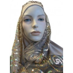 1 piece taupe hijab scarf with patterns