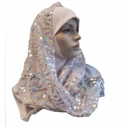 Light pink 1 piece hijab scarf with patterns