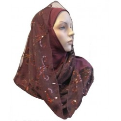1 piece burgundy hijab scarf with patterns